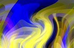Abstract soft lights, blue yellow lines, shapes, graphics. Abstract background and texture. Graphics, soft shapes and blue yellow lines, lights and shades royalty free illustration