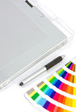 Graphics Tablet, Pen And Colour Chart royalty free stock image
