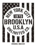 New York City retro vintage typography poster, t-shirt Printing design, vector Badge Applique Label. Typography  new york city, brooklyn 1975, t-shirt graphics Stock Photos