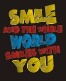 Graphics typography vector smile and the whole world Stock Image