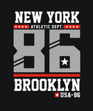 Graphics typography varsity, typography college athletic dept new york Stock Photography