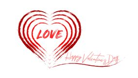 Happy Valentine`s Day - word `love` in many hearts vector illustration