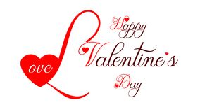 Happy Valentine`s Day - big first letter and small hearts stock illustration