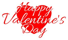 Happy Valentine`s Day - white and red words on the background of the heart vector illustration