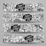 Graphics vector hand-drawn Love and Valentines Doodle. Horizontal line art banners design templates set Royalty Free Stock Photos