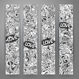 Graphics vector hand-drawn Love and Valentines Doodle. 4 Vertcal line art banners design templates set Stock Photos
