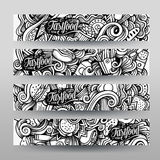 Graphics vector hand-drawn sketchy trace Fastfood Doodle. Horizontal banners design templates set Stock Photos