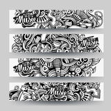 Graphics vector hand drawn sketchy trace Music Doodle banners. Graphics vector hand drawn sketchy trace Music Doodle horizontal banner. Design templates set Stock Photography