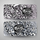 Graphics vector hand drawn sketchy trace Music Doodle banners Royalty Free Stock Photos