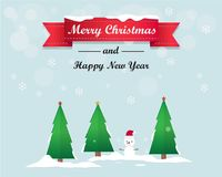 Merry Christmas Tree and Happy New Year Greeting Card Background Illustration Royalty Free Stock Photography