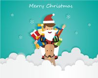 Merry Christmas Santa Claus On Sky with Gift Box and Reindeer, Greeting Card Background Illustration Paper Art Stock Photography