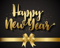 Golden Happy New Year and Gold Ribbon On Black Background Royalty Free Stock Photos