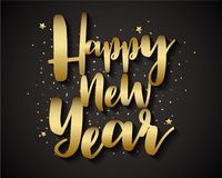 Golden Happy New Year On Black Background, Greeting Card Illustration Paper Art Royalty Free Stock Photos