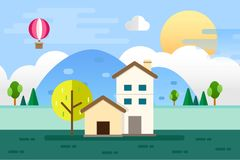 Home and Nature Landscape. Vector Illustration Flat Design Background Royalty Free Stock Photography