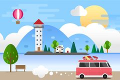 Light house in the Sea Landscape and Car Travel. Vector Illustration Flat Design Background Royalty Free Stock Photo