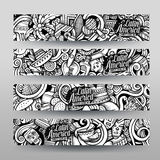 Graphics vector Latin American Doodle banners Royalty Free Stock Images