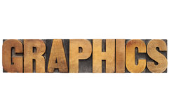 Graphics word in wood type Stock Photography