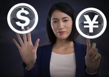 Graphique émouvant d'icône du dollar et de Yens de femme d'affaires Images libres de droits