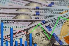 Graphique américain de programme de cours du dollar du dollar et du rouble Cours d'interdépendance Opérations commerciales d'affa Photographie stock libre de droits