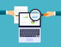 Graphique analytique d'affaires dans le concept de dispositif de comprimé illustration stock