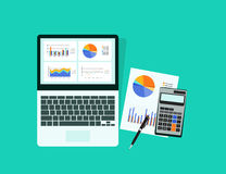 Graphique analytique d'affaires dans le dispositif de comprimé avec le concept de papier de rapport illustration de vecteur