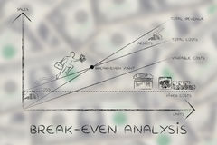 Graphique avec des résultats s'élevants de Président, calcul de rentabilité Images libres de droits
