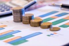 Graphique avec l'euro et le dollar, pièce de monnaie, calculatrice Images libres de droits