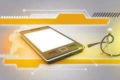 graphique avec l'icône élégante d'homme à un téléphone intelligent Images libres de droits