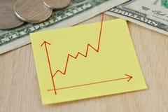 Graphique avec la ligne montante sur la note de papier, pièces de monnaie du dollar et billets de banque - concept de valeur croi images libres de droits