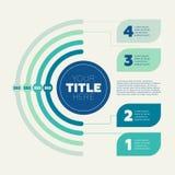 Graphique circulaire, 4 étapes et en-tête de cercle Image stock