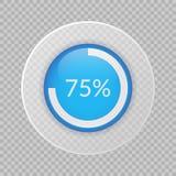 graphique circulaire de 75 pour cent sur le fond transparent Icône infographic de vecteur de pourcentage pour des affaires Photos stock