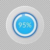 graphique circulaire de 95 pour cent sur le fond transparent Icône infographic de vecteur de pourcentage pour des finances, affai Images libres de droits