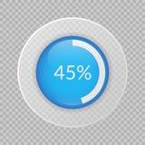graphique circulaire de 45 pour cent sur le fond transparent Icône de vecteur de pourcentage pour des affaires Image stock