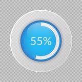 graphique circulaire de 55 pour cent sur le fond transparent Icône de vecteur de pourcentage pour des affaires Image libre de droits