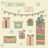 Graphique coloré de boîte de cadeaux de Noël Tiré par la main Illustration Stock