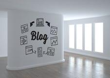 Graphique conceptuel de blog sur le mur de la pièce 3D Photographie stock