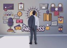 Graphique conceptuel sur le mur de la pièce 3D Image libre de droits