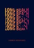 Graphique d'été de Long Beach avec des paumes Conception et copie de T-shirt Images stock