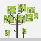 Graphique d'arbre tronc de tube le rectangle laisse des rayures à l'intérieur Illustration Stock