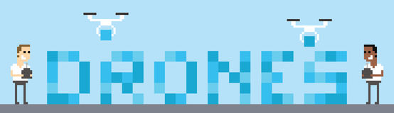 Graphique d'Art Image Of Drone Building de pixel des BOURDONS de Word Images libres de droits