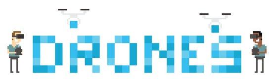 Graphique d'Art Image Of Drone Building de pixel des BOURDONS de Word Image stock