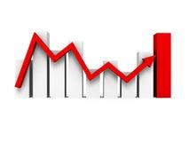 Graphique d'histogramme d'affaires avec la flèche rouge en hausse Photos libres de droits