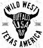 Graphique d'impression de pièce en t de buffle du Texas illustration libre de droits
