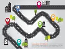 Graphique d'infos de carte de route d'emplacement de ville images stock