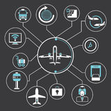 Graphique d'infos de concept d'aéroport Photos stock