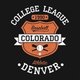 Graphique de base-ball de vintage du Colorado, Denver pour le T-shirt Conception originale de vêtements avec le grunge et le bouc Illustration Stock