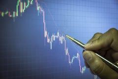 graphique de chandelier avec le stylo, les affaires et le concept financier image stock