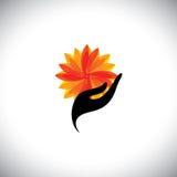 Graphique de concept de station thermale avec la main de femme et fleur - dirigez l'icône Photographie stock libre de droits