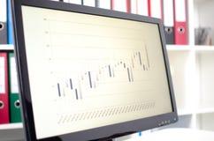 Graphique de données de bourse des valeurs sur un écran Photo stock