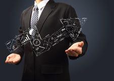 Graphique de flèche de concept de réussite commerciale montant dans des mains illustration de vecteur